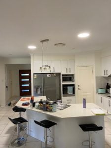 2 circular lights over kitchen